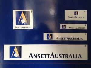 ANSETT AUSTRALIA WHITE VINYL STICKERS x 5