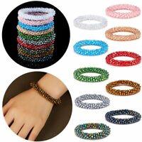 Charm Women Transparent Crystal Crochet Handmade Bracelet Elastic Rope Bangle