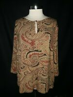 CHAPS Plus Size 2X Shirt Top Brown Black Red Paisley 3/4th Sleeve