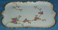 ANTIQUE HP & ENAMELED PORCELAIN LIMOGES SERVING/DRESSER TRAY FLORAL BRUSH GOLD