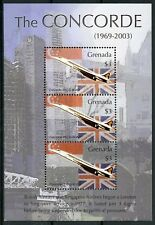 Grenada 2003 MNH Concorde London Singapore 3v M/S G-BOAD Aviation Stamps