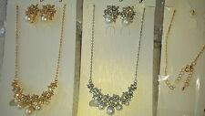 Joblot 12 PZ Faux Pearl & Diamante Set Collana E Orecchini Nuovo all' ingrosso Lotto 4