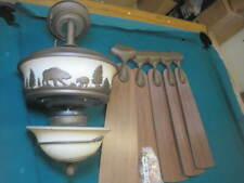 "VTG 48"" x 21"" LODGE RUSTIC CABIN COUNTRY CEILING FAN LIGHT bear tree silhouette"