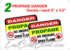 """2 DANGER  PROPANE 5"""" x 3.5"""" DECAL STICKERS. UV EXT or INT + FREE SHIPPING NEW"""