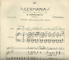 Antico Spartito Ricordi Germania di Franchetti per Flauto e Piano 1903