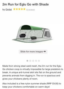 Omlet Chicken Run ONLY With Shade. No Coop /Feeders. Fits Eglu Go.