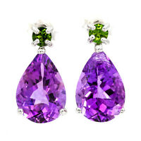 EARTH MINED 14X9MM AFRICAN AMETHYST CHROME DIOPSIDE STERLING SILVER 925 EARRING