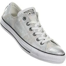 Converse Distressed HARDWARE Silver Metallic Suede Lthr Tennis Shoes Wms 9.5 NWT