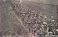 Postcard WW1 London Scottish Going Through The Trenches Daily Mail  No55