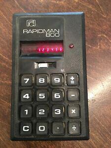 Rapidman 800 vintage red led calculator uses 9v battery