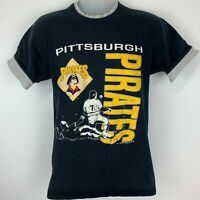Vintage 1990 Pittsburgh Pirates Medium T Shirt MLB Baseball Flip Cuffs Black Tee