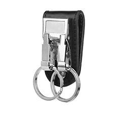 Porte-clés Double Anneaux Boucle Clip Accroche Ceinture Cuir Porte-Clef Amovible