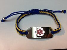 Stainless Steel unisex Medical Alert ID Bracelet Blue and Yellow Cord