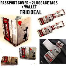 Banksy Teléfono Caja trío de viaje cartera de tarjeta de crédito cubierta de pasaporte etiquetas de equipaje