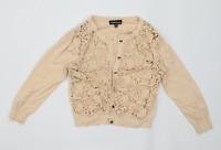 Warehouse Womens Size 10 Textured Cotton Beige Lace Cardigan (Regular)