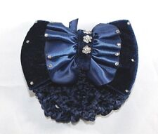 Brand New Velvet Blue Bow Tie Hair Bun Holder Stretch Pouch Hair Clip w/Crystals