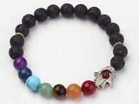 Lava Bead Diffuser Chakra Handcrafted Hamsa Hand Scent Bracelet Essential Oil
