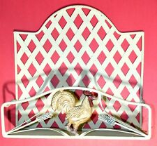 Rooster Metal Wall Shelf or Table Top Counter Basket Organizer Cream Colored