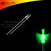 100pcs 3mm led water clear Green Light Emitting Diodes round top ultra bright