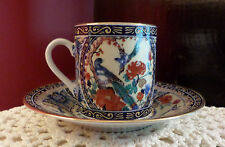 Small Oriental Unmarked Porcelain Demitasse Cup & Saucer Exotic Birds Gold Trim