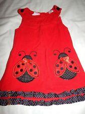 Nannette Girls 18 Months Red Lady Bug Corduroy Jumper Dress Cute