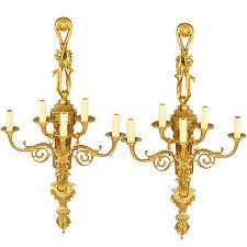EXCELLENCE PAIR of FRENCH WALL LAMPS BRONZE LEUCHTER WANDLAMPEN PAAR 5-AUSLEGER