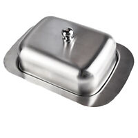Vintage Stainless Steel Kitchen Butter Dish Holder Tray Storage Holder With Lid