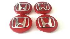 Set 4x69mm Honda Roue Alliage Center Hub Caps Rouge Accord Civic Type R etc