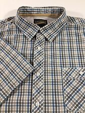 Cremieux Men's-Size 2XL- 100% Cotton Blue/Grays/White Checked Short Sleeve Shirt