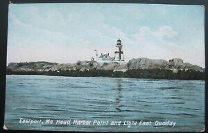Eastport Maine Head Harbor Point and Light East Quoddy Postcard Hugh Leighton