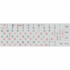 UKRAINIAN RUSSIAN ENGLISH WHITE KEYBOARD RED LETTER STICKERS LAPTOP COMPUTER PC+