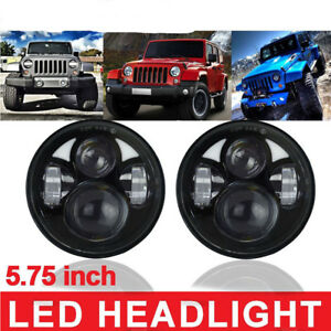"""Pair 5.75"""" White LED Projector Light LED Headlights Black Crystal Car Truck jeep"""