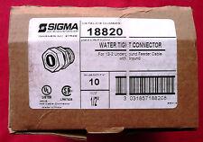 "TEN (10) Sigma Electric 18820 Watertight Cable Connectors 1/2"", UPC 031857188207"