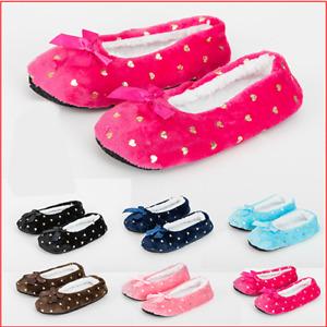 Ladies non slip sole Slippers Ballerina Sherpa non slip Fleece Lined Padded 4-7