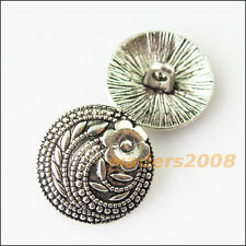 10 New Flower Button For Sewing Tibetan Silver Tone Charms Pendants 17mm