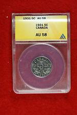 1931 ANACS Au58 Canada Five Cents FT