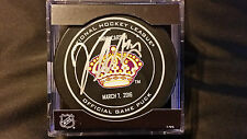 Vincent Lecavalier signed Los Angeles Kings NHL Purple Crown Game Puck RARE