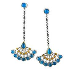 Andrea Candela 18k Yellow Gold & Silver Blue Agate Cable Earrings ACE351-BAC
