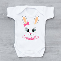 Personalised Easter Cute Bunny Face Name Bow Girls Baby Grow Bodysuit