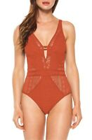 Becca Color Play Crochet Plunging One-Piece Swimsuit - Pick Size