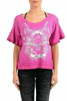 Just Cavalli Women's Pink Graphic Short Sleeve Top US S IT 40