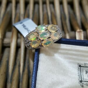 Natural Ethiopian Opal and Diamonds Sterling Silver Ring, Gems Tv, Size Q, New