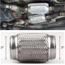 """Dual Braided Car Exhaust Flex Pipe Mid Link Tube Stainless Steel 3"""" Inlet x 6"""""""