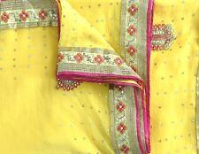 Indian Traditional Saree Net Mesh Hand Beaded Yellow Fabric Ethnic Lehenga Saree