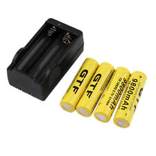 4pcs 18650 3.7V 9800mAh Rechargeable Li-ion Battery + Charger For Torch US QT