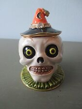 Department 56 Bejeweled Collections Skull Trinket Box Latch Halloween Creepy New
