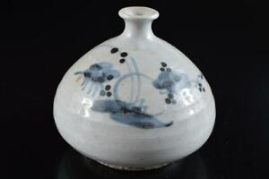 #7274: Korean Lý Dynasty Blue&White Flower pattern VASE Pot XF