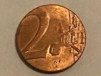 Fehlprägung 2 Euro auf 1 Cent Ronde / falscher Schrötling
