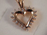 Real 9ct Yellow Gold Diamond Heart Pendant love wife girlfriend Christmas G2-13