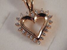 Real 9ct Yellow Gold Diamond Heart Pendant   love wife girlfriend Christmas gift